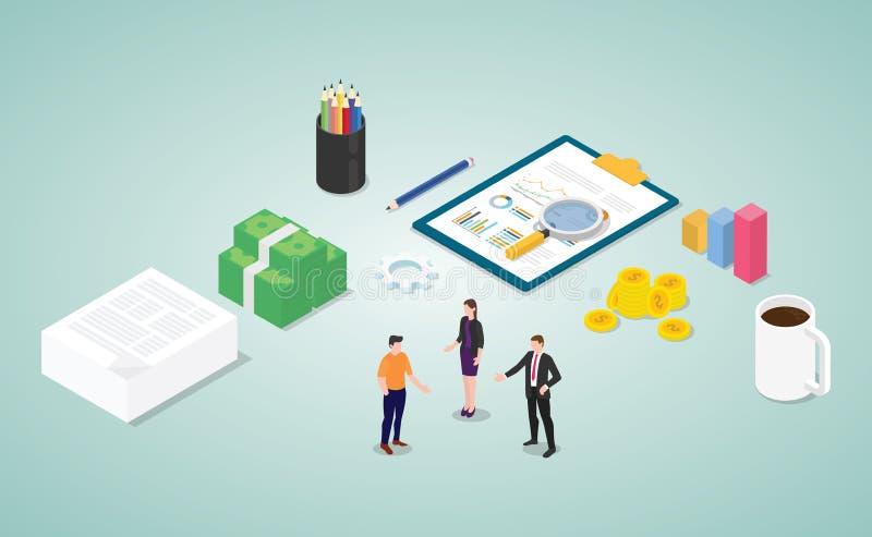 De financiële analyse van het overlegrapport met teammensen en document met moderne vlakke isometrische stijl - vector vector illustratie