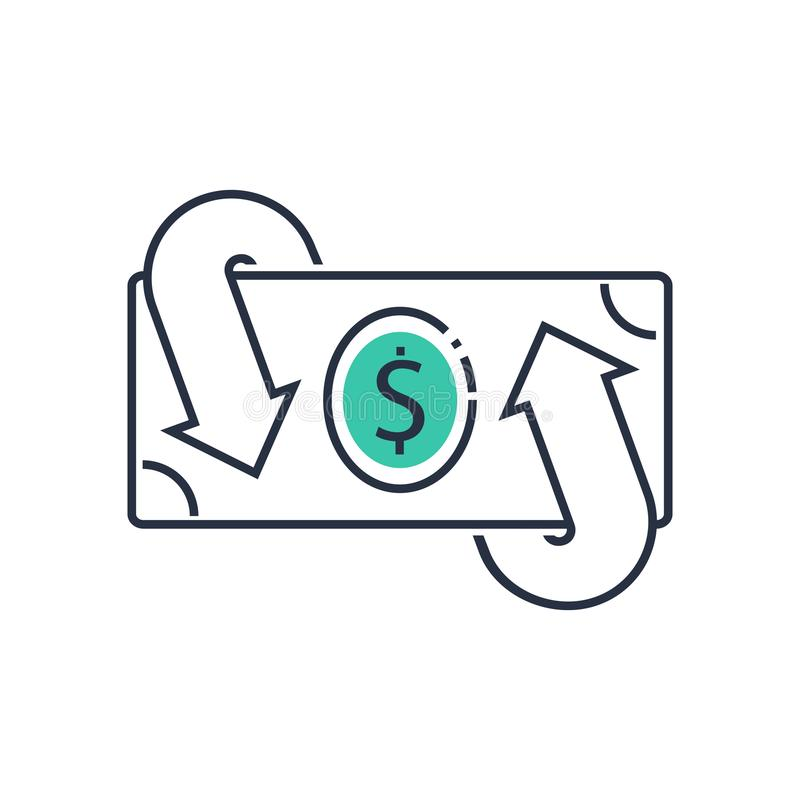 De financiële diensten, contant geld achterconcept, geldterugbetaling, terugkeer op investering, spaarrekening, muntuitwisseling stock illustratie