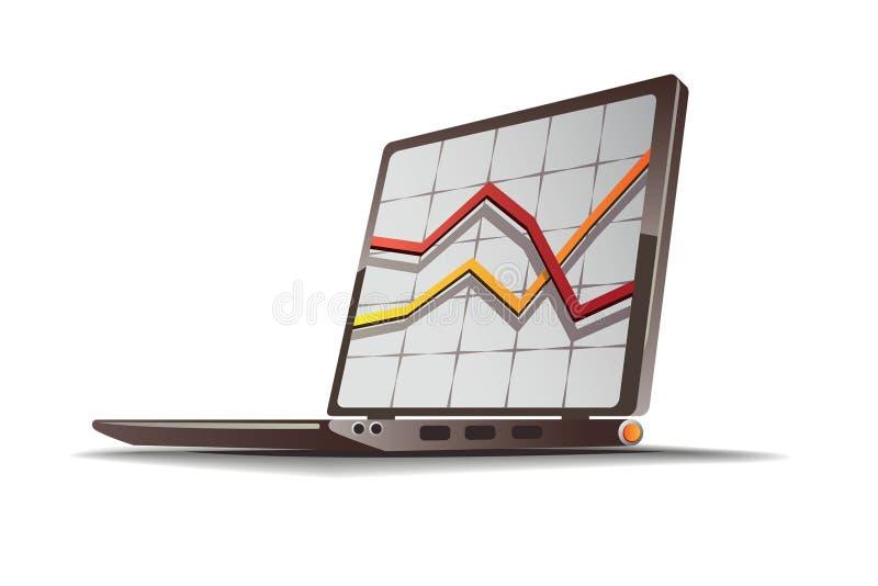 De financiële illustratie van de computer royalty-vrije illustratie