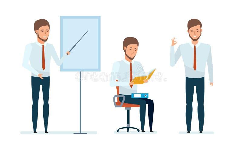 De financiële manager leidt professionele bedrijfslessen voor werknemers en partners royalty-vrije illustratie