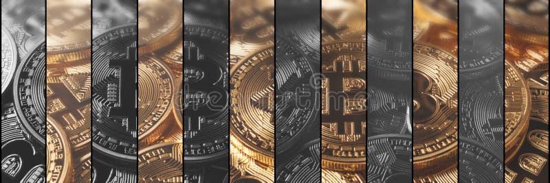 De financiën en de technologieconcept van het Cryptocurrencyconcept Bitcoin, royalty-vrije illustratie