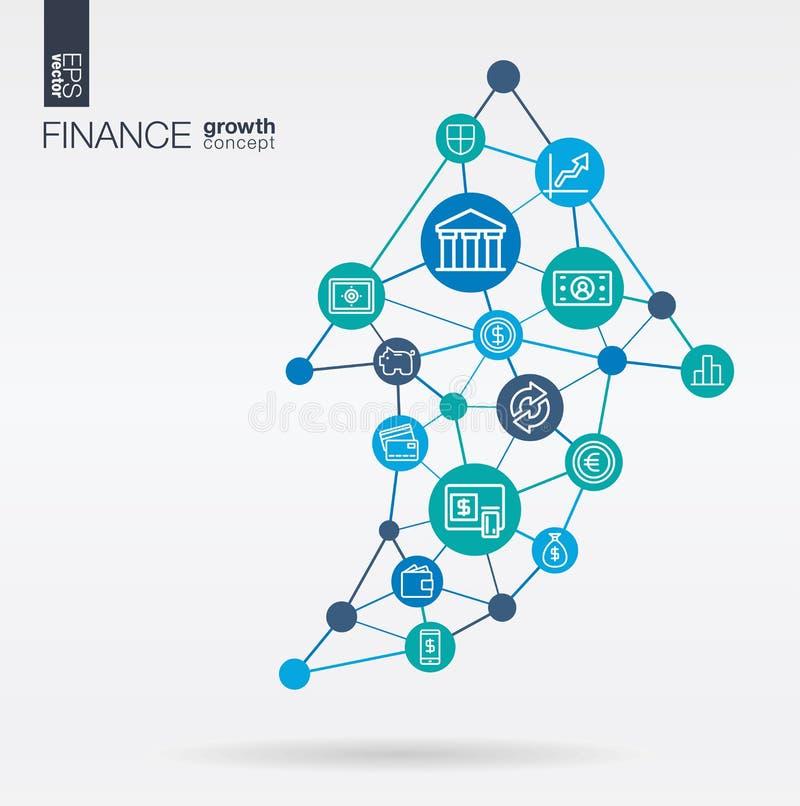 De financiën integreerden dunne lijnpictogrammen De groei, de vooruitgang en het succes van de grafiekgrafiek in pijl op vorm Dig royalty-vrije illustratie