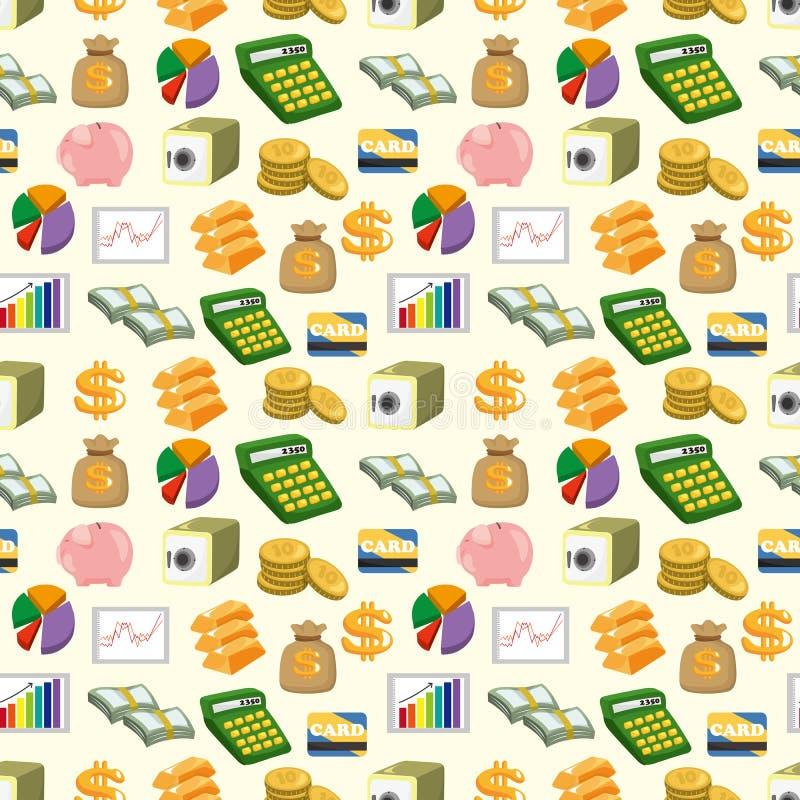 De Financiën van het beeldverhaal & het naadloze patroon van het Geld vector illustratie