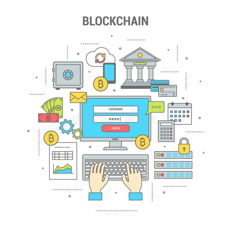 De financiënbanner van het Blockchainconcept met bitcoins vector illustratie