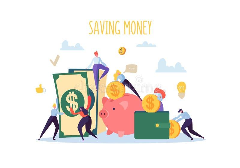 De Financiënconcept van het besparingsgeld De vlakke Mensenkarakters verzamelen Geld Spaarvarken, Rijkdom, Begroting, Inkomens royalty-vrije illustratie