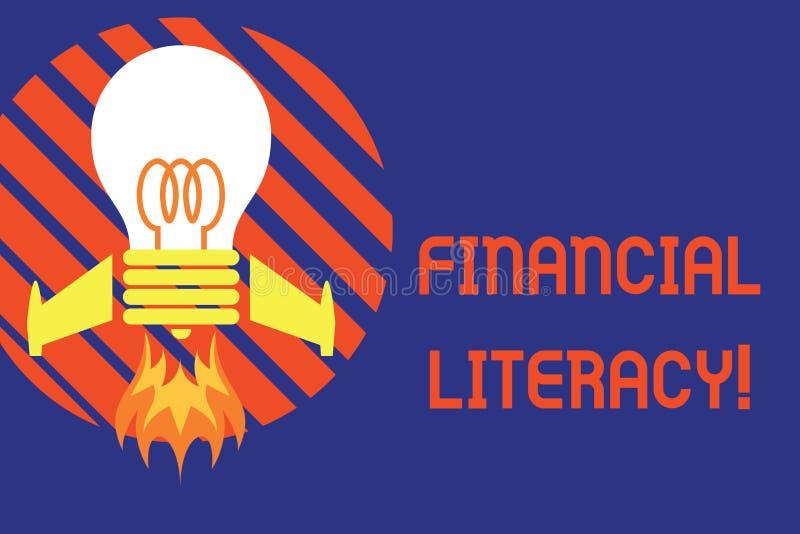 De Financi?le Geletterdheid van de handschrifttekst De conceptenbetekenis begrijpt en goed geïnformeerd op hoe het geld Hoogste m royalty-vrije illustratie
