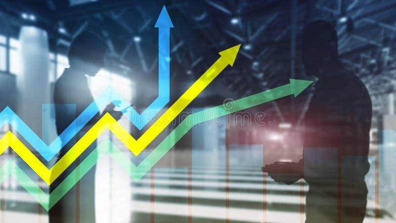 De financi?le grafiek van de groeipijlen Investering en handelconcept stock foto's