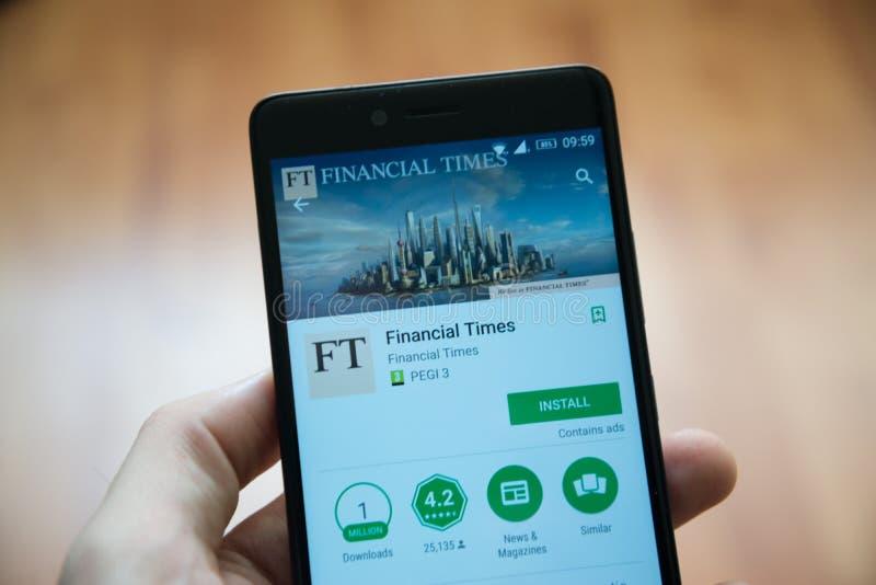 De Financial Times-toepassing in de opslag van het googlespel stock afbeelding
