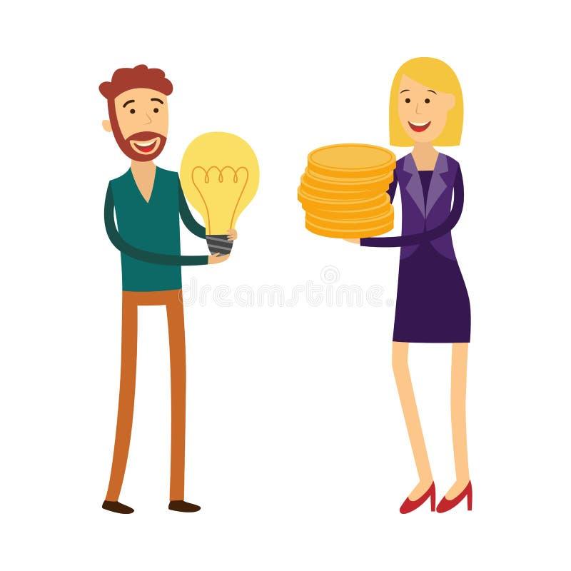 De financiering van nieuw bedrijfsideeconcept met de mens gloeilamp houden en vrouwelijke bankier die met geldmuntstukken royalty-vrije illustratie