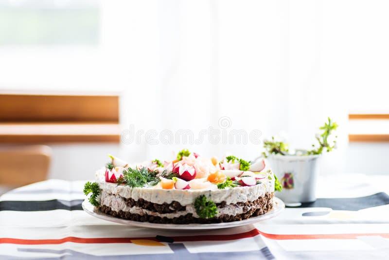 De finse cake van de eilandbewonersandwich stock afbeelding