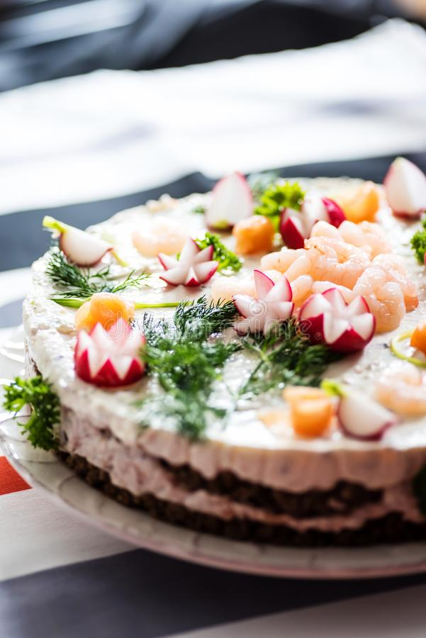 De finse cake van de eilandbewonersandwich stock foto's