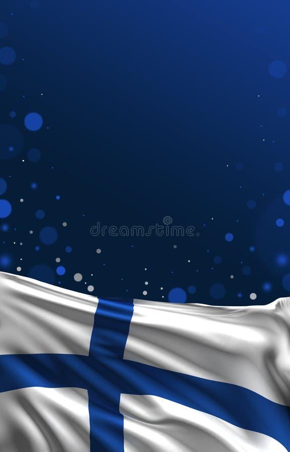 De finse vlag, 3D de kleurenachtergrond van Finland, geeft terug royalty-vrije illustratie