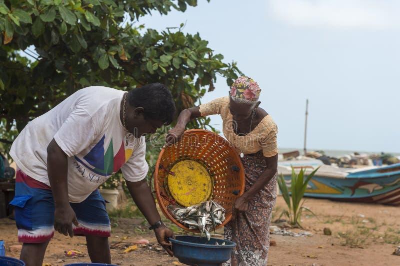 De Fishermansvrouw verkoopt de vissen bij het strand royalty-vrije stock fotografie