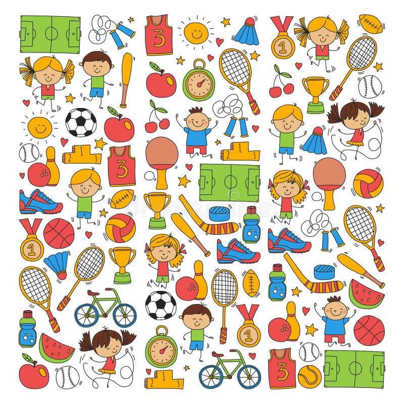 De Fitness van de kinderensport van het het Tennisbasketbal van het Voetbalvolleyball van de de Fiets de Lopende Toekenning sport royalty-vrije illustratie