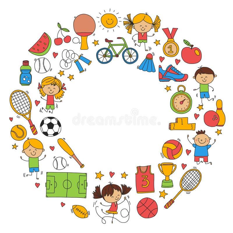 De Fitness van de kinderensport van het het Tennisbasketbal van het Voetbalvolleyball van de de Fiets de Lopende Toekenning sport vector illustratie