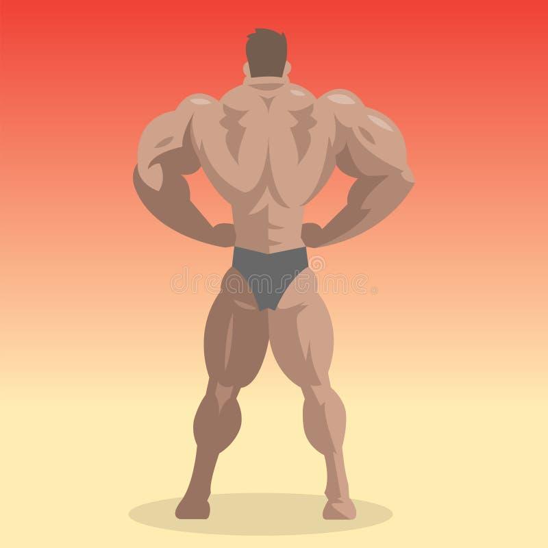 De fitness van de de karakters spier gebaarde mens van de bodybuildersportman vector mannelijke sterke athlets model stellende bo royalty-vrije illustratie