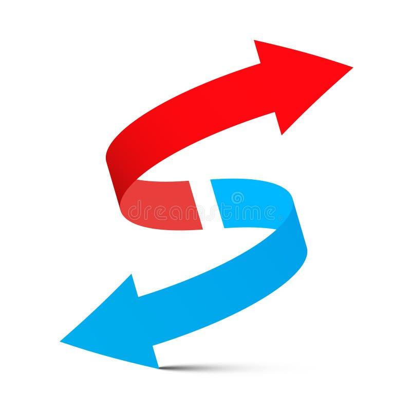 De flèche flèche bleue rouge - vers le bas illustration stock