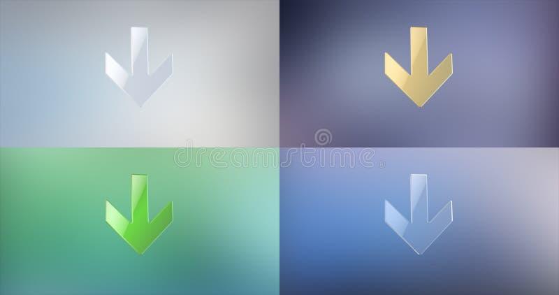 De flèche icône 3d vers le bas photo libre de droits