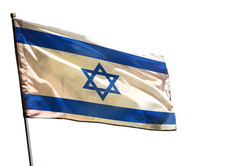 De fladderende vlag van Israël op duidelijke witte geïsoleerde achtergrond stock foto's
