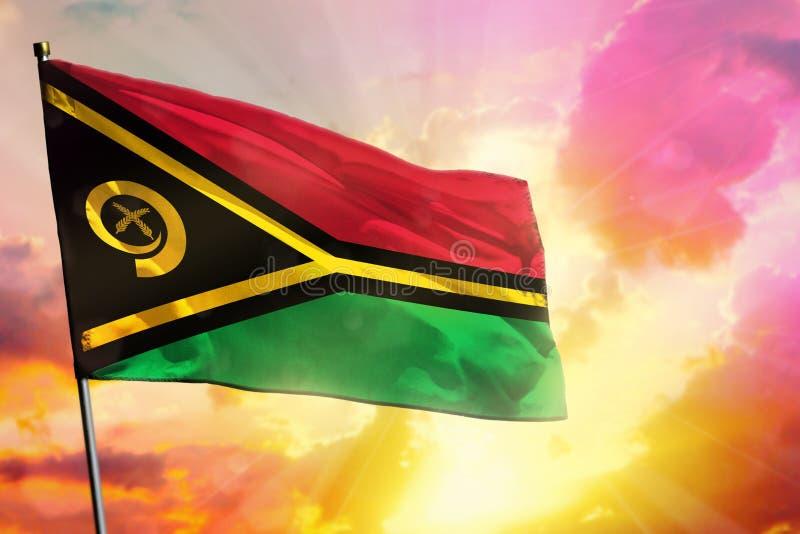 De fladderende vlag van Vanuatu op mooie kleurrijke zonsondergang of zonsopgangachtergrond Verschillende 3d bal stock foto