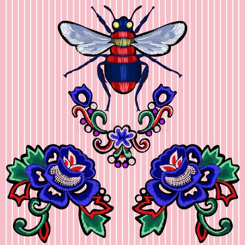 De flarden van de borduurwerktendens met rozen en bij royalty-vrije illustratie