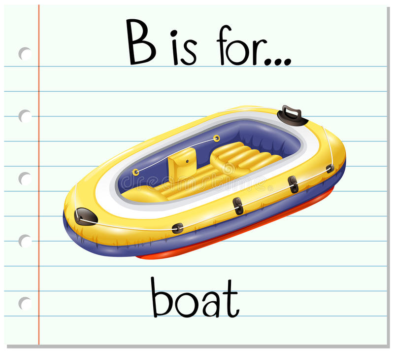 De Flashcardbrief B is voor boot royalty-vrije illustratie