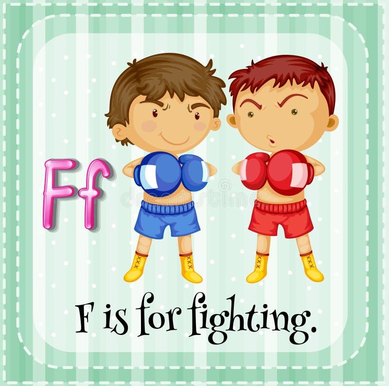 De Flashcardbrief F is voor het vechten vector illustratie