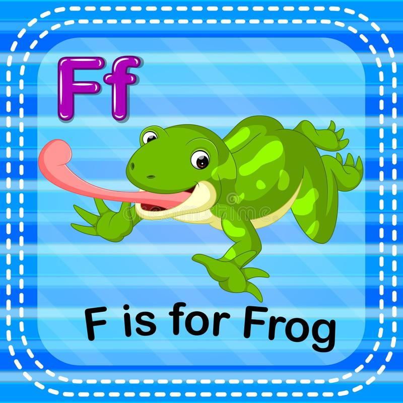 De Flashcardbrief F is voor kikker royalty-vrije illustratie
