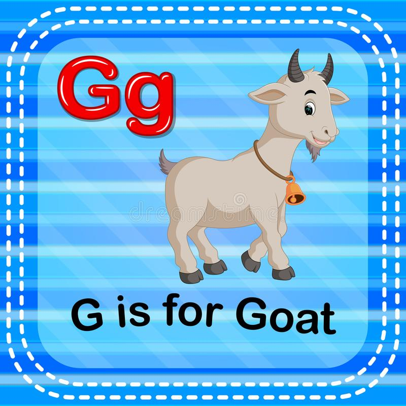 De Flashcardbrief G is voor geit vector illustratie