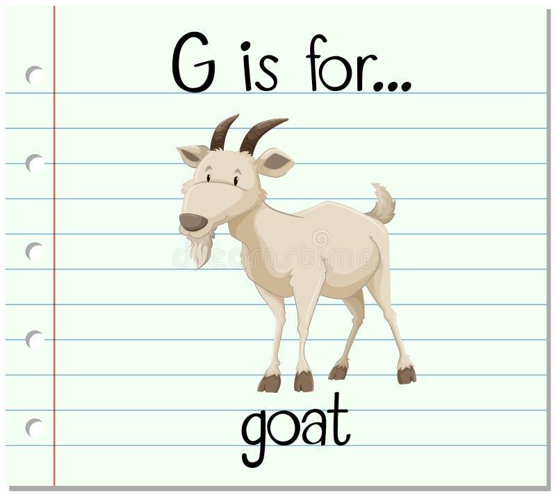 De Flashcardbrief G is voor geit royalty-vrije illustratie