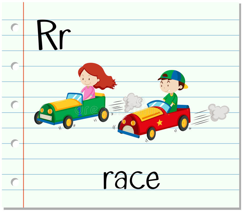 De Flashcardbrief R is voor ras stock illustratie