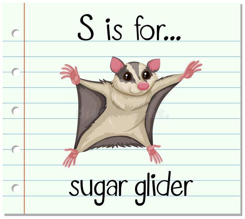 De Flashcardbrief S is voor suikerzweefvliegtuig vector illustratie