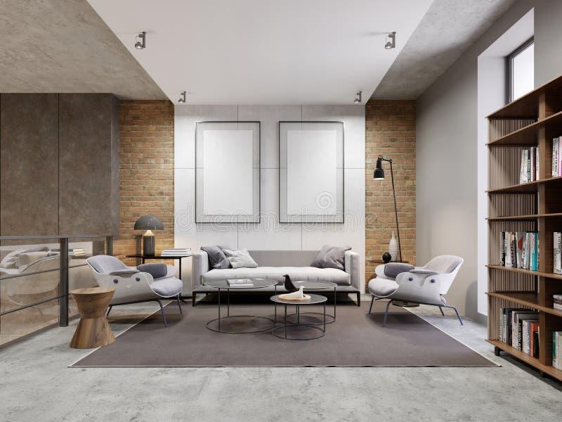 De flat van de open plekstreek met bank en leunstoel en de verfraaide muur met twee lege beelden, bespotten omhoog Boekenkast met vector illustratie