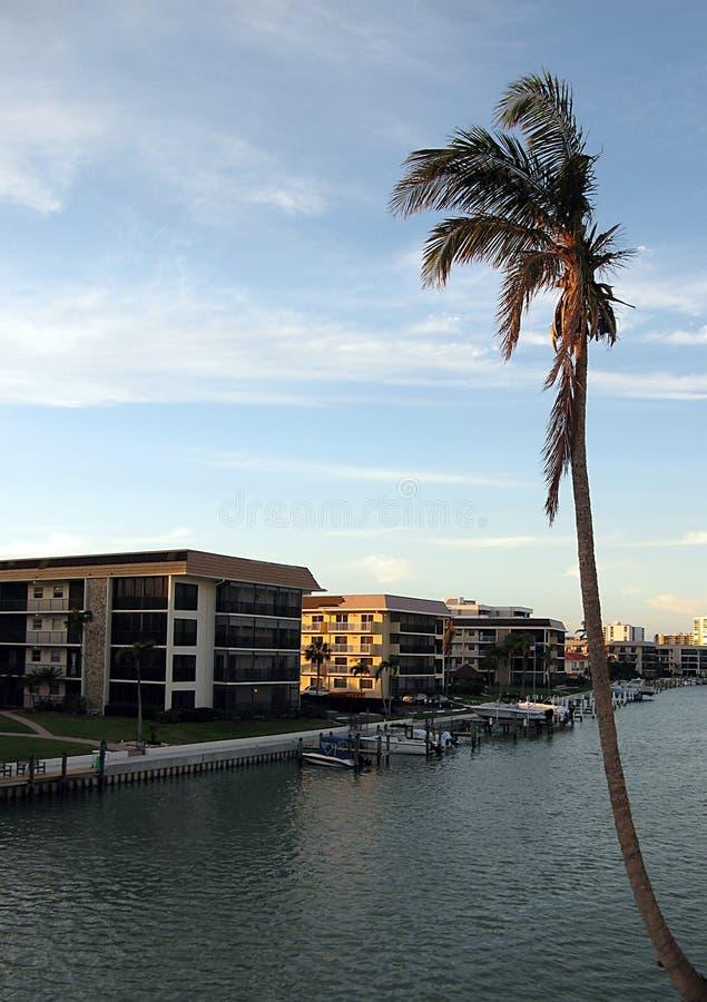 De Flatgebouwen met koopflats van Napels Florida stock fotografie