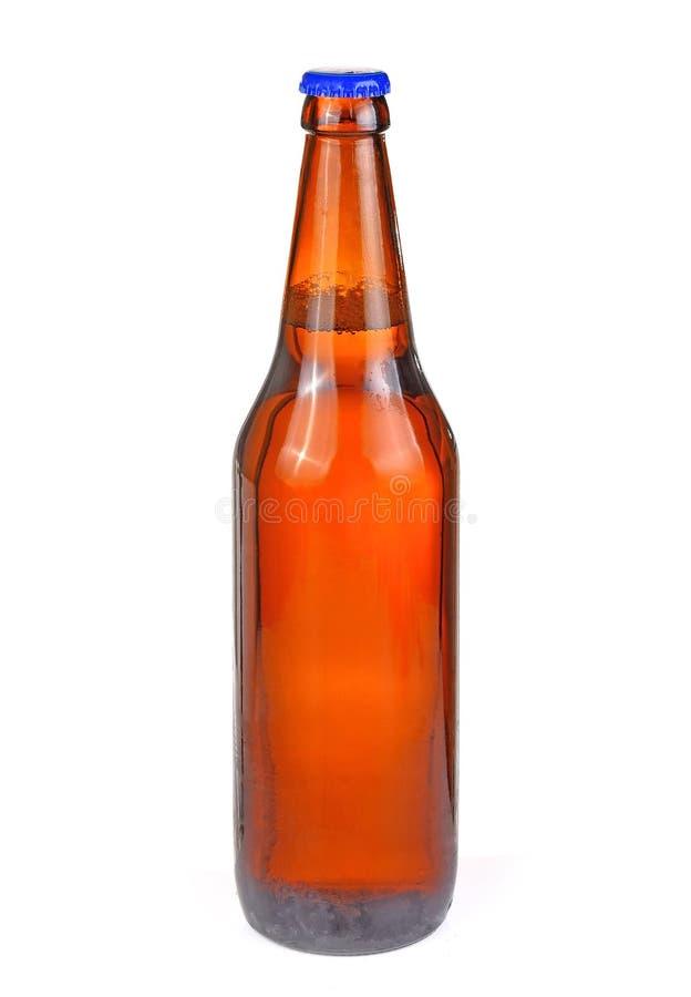 De fles bier isoleerde witte achtergrond stock afbeelding