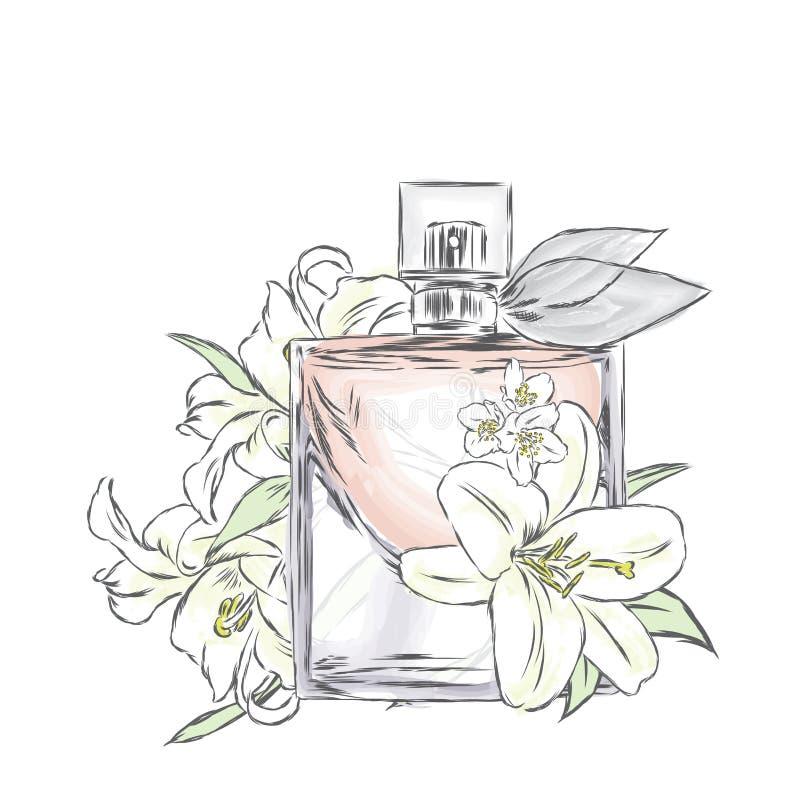 De fles en de bloemen van het parfum Vector Druk op een prentbriefkaar, een affiche of een kleding royalty-vrije illustratie