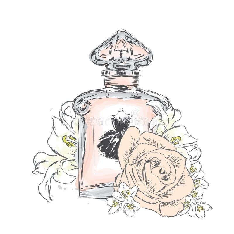 De fles en de bloemen van het parfum Vector Druk op een prentbriefkaar, een affiche of een kleding stock illustratie