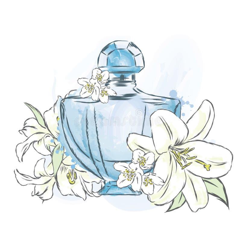 De fles en de bloemen van het parfum stock illustratie