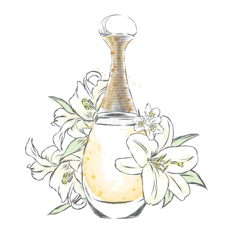 De fles en de bloemen van het parfum vector illustratie