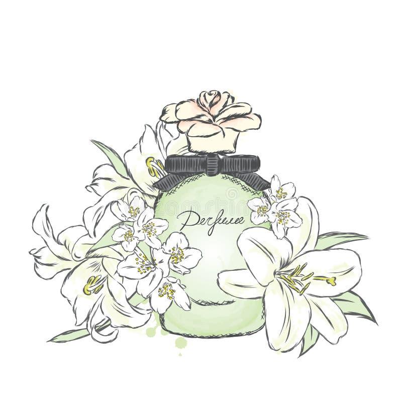 De fles en de bloemen van het parfum royalty-vrije illustratie