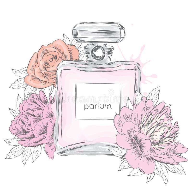 De fles en de bloemen van het parfum Vector De fles en de bloemen van het parfum royalty-vrije illustratie