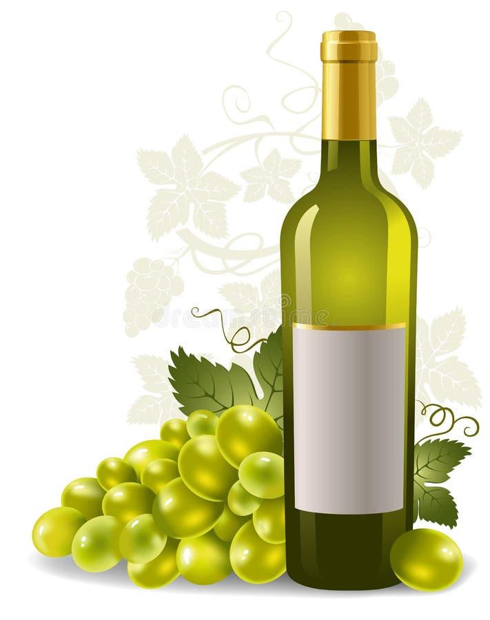 De fles en de druif van de wijn vector illustratie