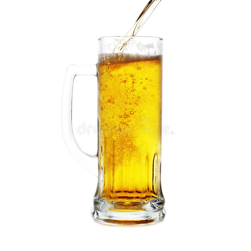 De fles en de mok van het bier stock afbeeldingen