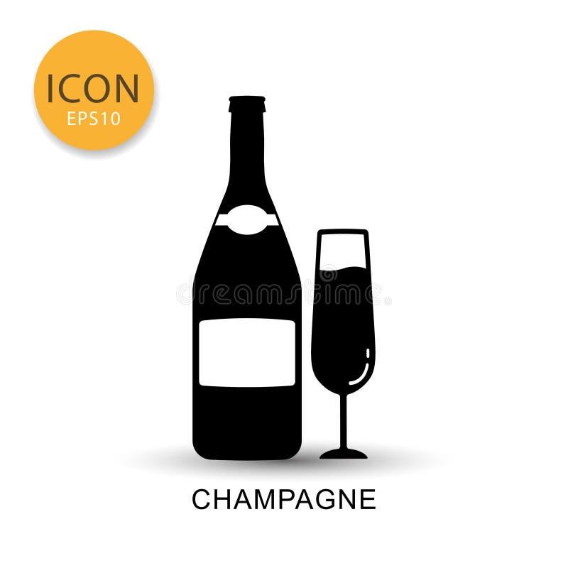 De fles en het glaspictogram vlakke stijl van Champagne vector illustratie