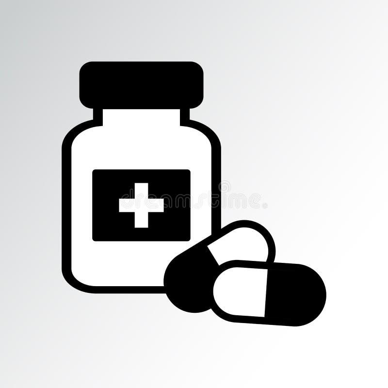De Fles en de Pillen van de geneeskunde Vector illustratie royalty-vrije illustratie