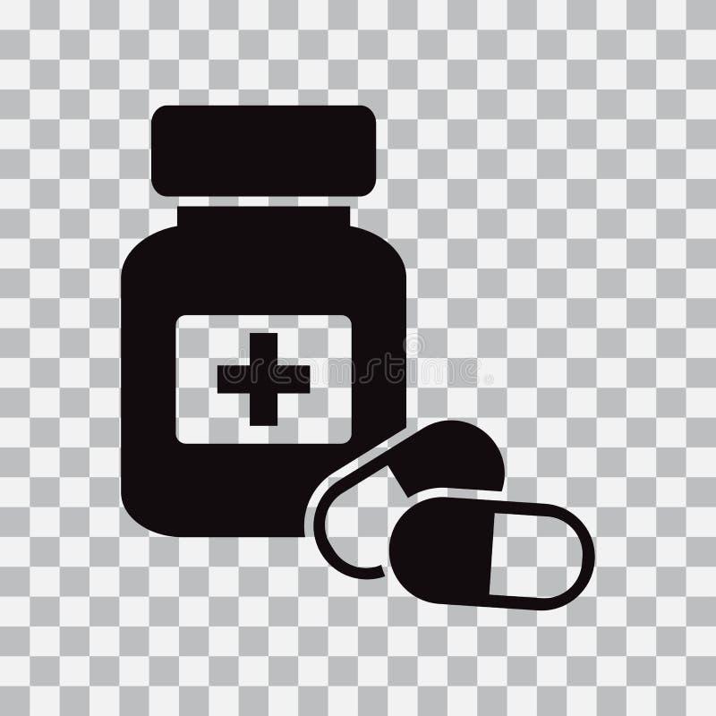 De Fles en de Pillen van de geneeskunde Zwart pictogram Vector illustratie royalty-vrije illustratie