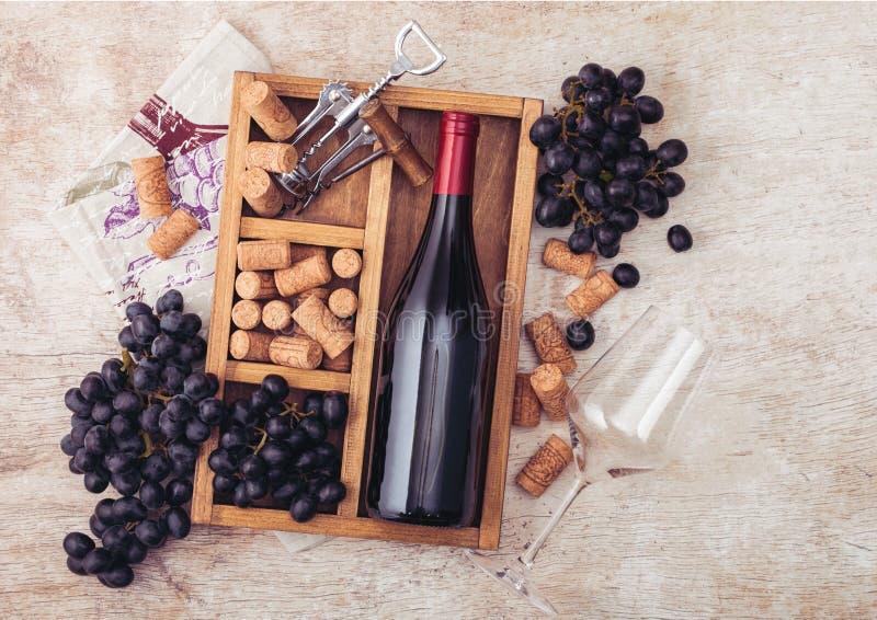 De fles rode wijn en leeg glas met donkere druiven met kurkt en opener binnen uitstekende houten doos op lichte houten achtergron stock fotografie