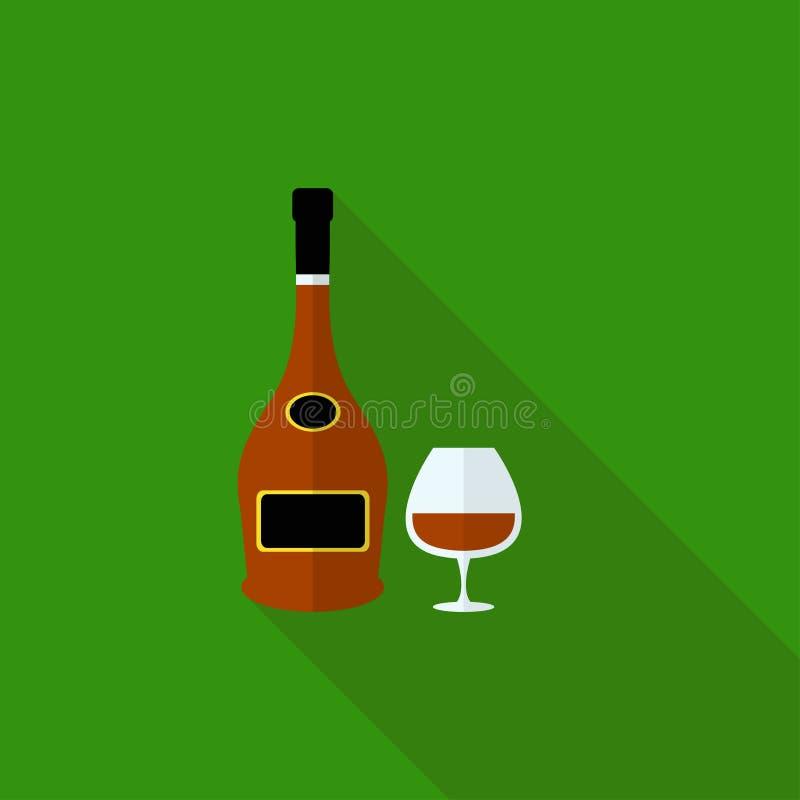 De Fles van de Brandewijn van het goud en van het Leer vector illustratie