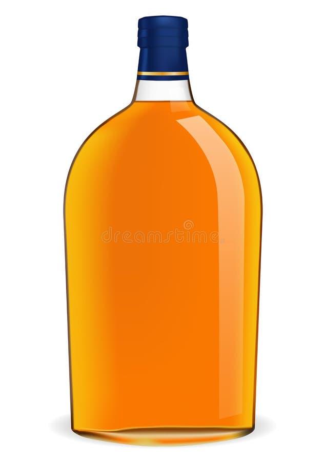 De Fles van de Brandewijn van het goud en van het Leer stock illustratie