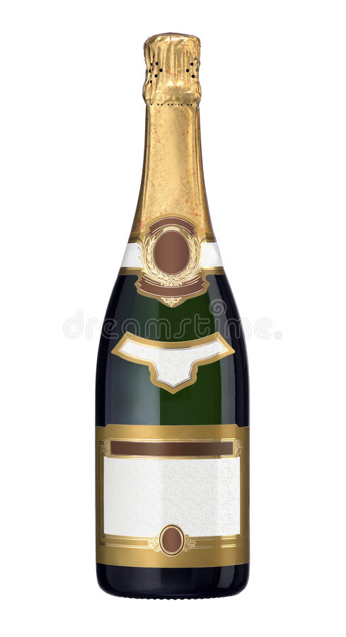 De Fles van Champagne - Lege Etiketten stock foto